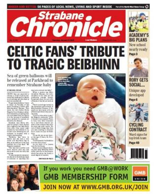 Front page of the Strabane Chronicle