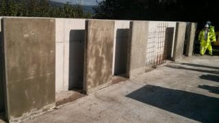 The concrete test walls that have been erected at the Heads of the Valleys road