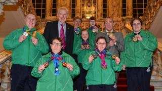 The athletes were invited to a civic reception to celebrate their success