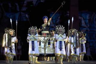 Festival participants of Egypt perform during the International Military Festival 'Sasskaya Tower' at the Red Square of Moscow on August 30, 2019