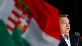 Hungarian Prime Minister Viktor Orban addresses supporters as results emerge from the parliamentary election in Budapest, Hungary, 8 April, 2018.