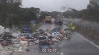 Food from lorry spilled on road