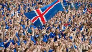 Supporters attend the Euro 2016 group F football match between Iceland and Hungary at Stade Velodrome on June 18, 2016 in Marseille, France.
