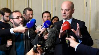 Education Minister Jean-Michel Blanquer addresses the media over the incident