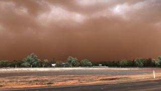 The dust storm descends on Charleville, a town in Queensland