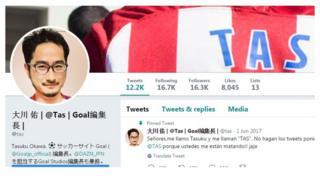 Captura de pantalla de la cuenta de Twitter de @tas