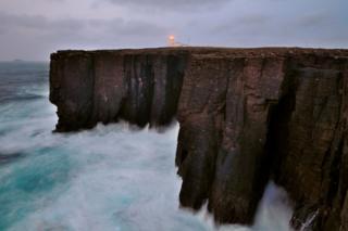 Esha Ness lighthouse in Shetland