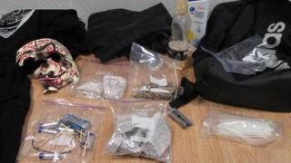 Contents of rucksack discovered by police