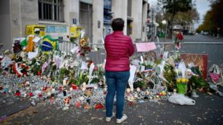 Tributes left near the Bataclan concert hall on 15 November 2015
