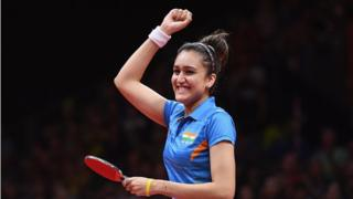 Manika Batra celebrates defeating Mengyu Yu of Singapore during the Women's Singles Gold Medal Table Tennis match on day 10 of the Gold Coast 2018 Commonwealth Games