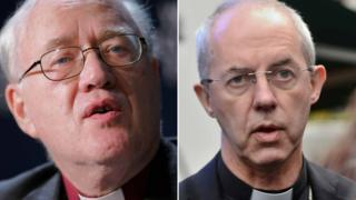 Former Archbishop of Canterbury George Carey and incumbent Justin Welby