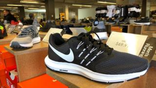 Nike running shoes are displayed at a DSW store on September 14, 2018 in San Francisco, California