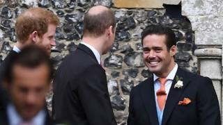 "Spencer Matthews, brother of the groom, greets Britain""s Prince William, Duke of Cambridge, and Britain""s Prince Harry"