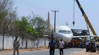 A320 accidentally falls from crane in Hyderabad, India 10 April 2016