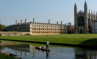 King's College, Cambridge and a punt on the River Cam