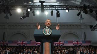 US President Barack Obama gestures as he gives a speech in central London