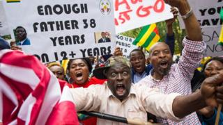 Protesters for street of Togo