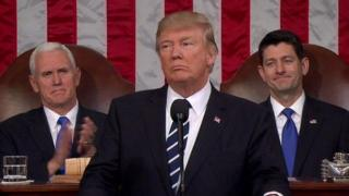 Rais Trump akitoa hotuba yake katika bunge la Congress nchini Marekani