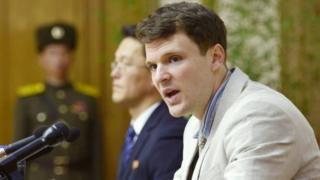 Otto Warmbier attends a news conference in Pyongyang, North Korea, in this photo released on 29 February 2016.