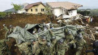 南阿蘇村ではまたひとり、遺体となって発見された(19日)
