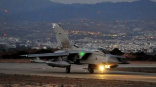 RAF Tornado GR4 landing at RAF Akrotiri in Cyprus