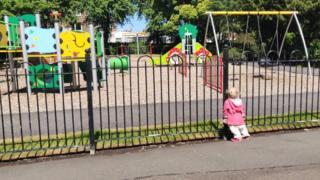 Girl looking at park