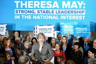 Theresa May at an election rally