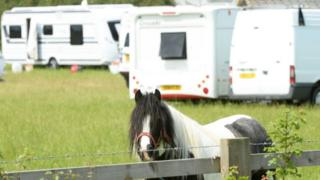 caravans illegally camp on private land [generic]