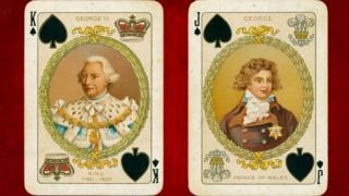 Jorge III y el futuro Jorge IV en naipes.