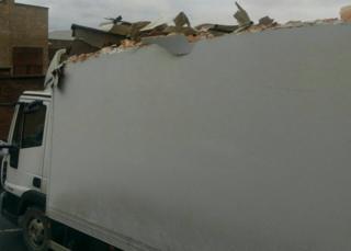 Damaged lorry after Banbridge bridge strike
