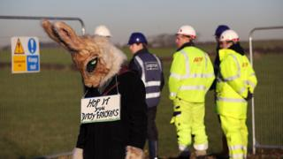 Anti-fracking protester at the site on 5 Jan 2017
