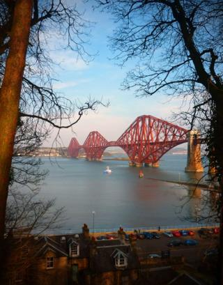 Forth Rail Bridge from footpath near Dalmeny train station