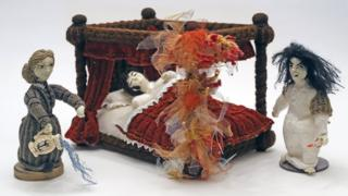 Knitted fire scene from Jane Eyre