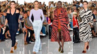 Models wearing Paul Surridge designs at Cavalli catwalk show