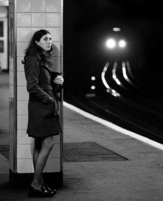 Woman on a platform, Moorgate, 1973