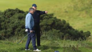 Prince Andrew played the Royal Portrush course in the company of the club's head professional Gary McNeill