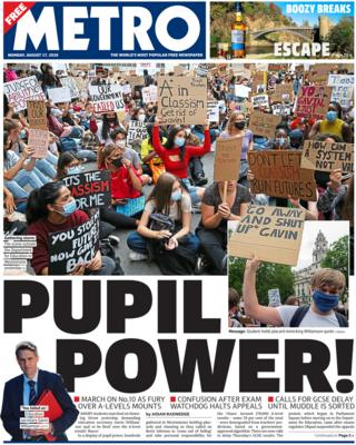 Metro front page 17 August 2020