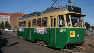 One of the Helsinki trams which is being given away