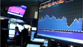 Screen shows share price movements
