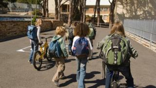 Children walking and cycling to school (generic)