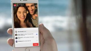 A phone showing Facebook Live Video