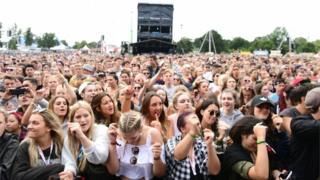 Young people in crowd at V Festival
