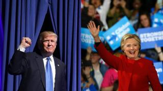 Montagem de fotos dos candidatos à presidência americana