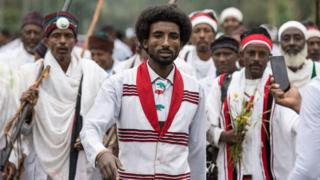 Men march at the Irreecha festival in Ethiopia - Sunday 1 October 2017