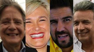 Guillermo Lasso (Alianza por el Cambio), Cynthia Viteri (Partido Social Cristiano), Abdalá (Dalo) Bucaram (Fuerza Ecuador) y Lenín Moreno, el candidato oficialista.