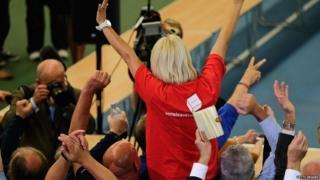 Campaigners celebrate Leave vote in 2016 Brexit referendum