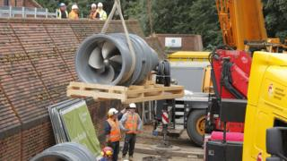 New pump being installed at the Foss Barrier, York