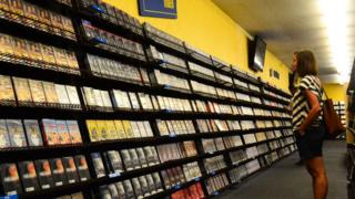 Customers at Blockbuster