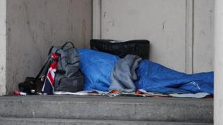 Rough sleeper in London