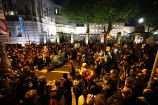 Extinction Rebellion protesters demonstrate outside Leinster House in Dublin